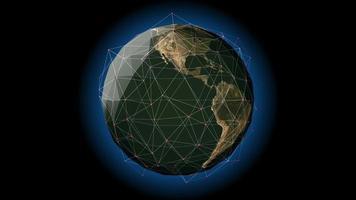 een wereldwijd netwerk omringt de planeet aarde - loop video