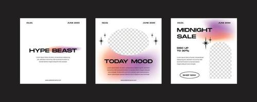 Minimal gradient fashion post set vector