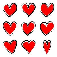 Set of handdrawn hearts  isolated on white background vector