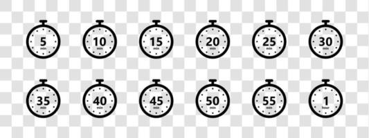 Stopwatch and countdown timer black icons set vector