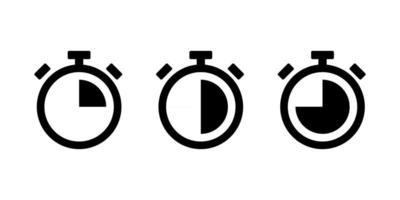 Stopwatch Icon set black vector