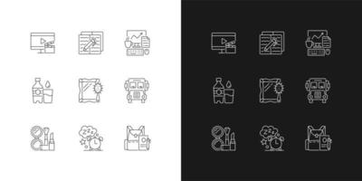 Everyday activities linear icons set for dark and light mode. Watching TV for entertainment at home. Customizable thin line symbols. Isolated vector outline illustrations. Editable stroke