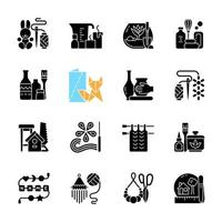 Trending hobbies black glyph icons set on white space. Home business. Boho style. Craft activity. Creative reuse. Handcrafted pieces. Home decor. Silhouette symbols. Vector isolated illustration