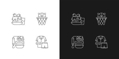 Daily student routine linear icons set for dark and light mode. Breakfast pancakes. Basketball club. Customizable thin line symbols. Isolated vector outline illustrations. Editable stroke