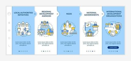 Social unit development programs levels onboarding vector template. Responsive mobile website with icons. Web page walkthrough 5 step screens. Local authorities color concept with linear illustrations