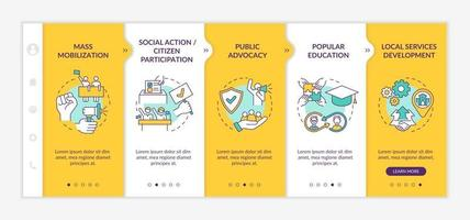 Social unit change strategies onboarding vector template. Responsive mobile website with icons. Web page walkthrough 5 step screens. Mass mobilization color concept with linear illustrations