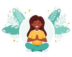 Indian girl meditating in lotus pose. Gymnastic, meditation for children. vector