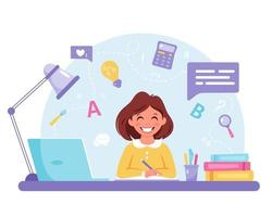 Girl studying with computer. Online learning, back to school concept. vector