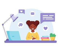 African american girl studying with computer. Online learning, back to school concept. vector