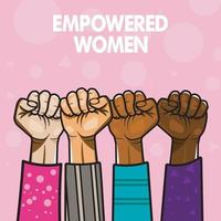 Raised woman fist. Women fists rising up, vector art illustration, different nationals, women hands, vector illustration isolated on pink background