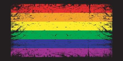 Pride flag. Old grunge pride flag. Vector rainbow flag. LGBT pride flag