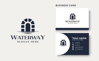 Canal Waterway Logo Template Isolated in White Background vector