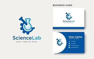 Gear with Tube Science Laboratory Logo Template Isolated in White Background vector