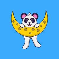 Cute Panda is on the moon. Animal cartoon concept isolated. Can used for t-shirt, greeting card, invitation card or mascot. Flat Cartoon Style vector
