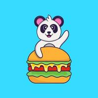 Cute Panda eating burger. Animal cartoon concept isolated. Can used for t-shirt, greeting card, invitation card or mascot. Flat Cartoon Style vector