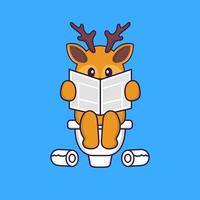 Cute deer Pooping On Toilet and read newspaper. Animal cartoon concept isolated. Can used for t-shirt, greeting card, invitation card or mascot. Flat Cartoon Style vector