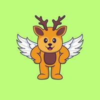 Cute deer using wings. Animal cartoon concept isolated. Can used for t-shirt, greeting card, invitation card or mascot. Flat Cartoon Style vector