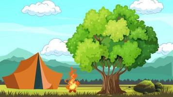 acampamento matinal na planície e fogo video
