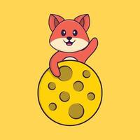 Cute fox is on the moon. Animal cartoon concept isolated. Can used for t-shirt, greeting card, invitation card or mascot. Flat Cartoon Style vector