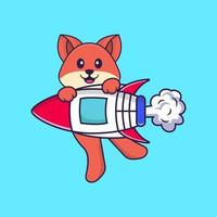 Cute fox flying on rocket. Animal cartoon concept isolated. Can used for t-shirt, greeting card, invitation card or mascot. Flat Cartoon Style vector