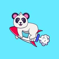 Cute Panda flying on rocket. Animal cartoon concept isolated. Can used for t-shirt, greeting card, invitation card or mascot. Flat Cartoon Style vector