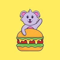 Cute koala eating burger. Animal cartoon concept isolated. Can used for t-shirt, greeting card, invitation card or mascot. Flat Cartoon Style vector