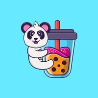 Cute Panda Drinking Boba milk tea. Animal cartoon concept isolated. Can used for t-shirt, greeting card, invitation card or mascot. Flat Cartoon Style vector