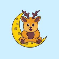 Cute deer is sitting on the moon. Animal cartoon concept isolated. Can used for t-shirt, greeting card, invitation card or mascot. Flat Cartoon Style vector