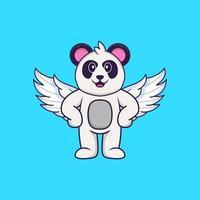 lindo panda con alas. aislado concepto de dibujos animados de animales. Puede utilizarse para camiseta, tarjeta de felicitación, tarjeta de invitación o mascota. estilo de dibujos animados plana vector