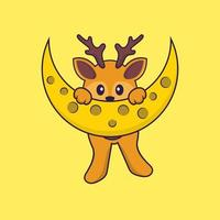 Cute deer is on the moon. Animal cartoon concept isolated. Can used for t-shirt, greeting card, invitation card or mascot. Flat Cartoon Style vector