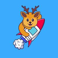Cute deer flying on rocket. Animal cartoon concept isolated. Can used for t-shirt, greeting card, invitation card or mascot. Flat Cartoon Style vector
