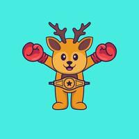 Cute deer in boxer costume with champion belt. Animal cartoon concept isolated. Can used for t-shirt, greeting card, invitation card or mascot. Flat Cartoon Style vector