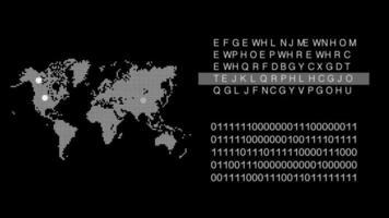 concept de technologie de carte du monde avec fond de clignotement cible avec code d'état fonctionnant video