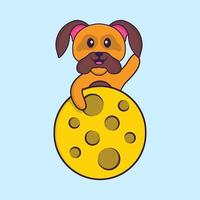 Cute dog is on the moon. Animal cartoon concept isolated. Can used for t-shirt, greeting card, invitation card or mascot. Flat Cartoon Style vector