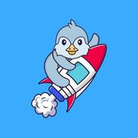 Cute bird flying on rocket. Animal cartoon concept isolated. Can used for t-shirt, greeting card, invitation card or mascot. Flat Cartoon Style vector