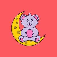 Cute koala is sitting on the moon. Animal cartoon concept isolated. Can used for t-shirt, greeting card, invitation card or mascot. Flat Cartoon Style vector