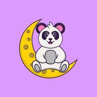 Cute Panda is sitting on the moon. Animal cartoon concept isolated. Can used for t-shirt, greeting card, invitation card or mascot. Flat Cartoon Style vector