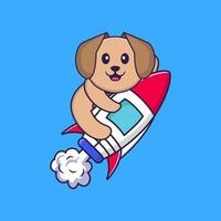 Cute dog flying on rocket. Animal cartoon concept isolated. Can used for t-shirt, greeting card, invitation card or mascot. Flat Cartoon Style vector