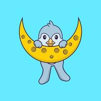 Cute bird is on the moon. Animal cartoon concept isolated. Can used for t-shirt, greeting card, invitation card or mascot. Flat Cartoon Style vector