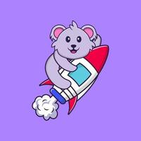 Cute koala flying on rocket. Animal cartoon concept isolated. Can used for t-shirt, greeting card, invitation card or mascot. Flat Cartoon Style vector