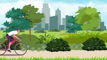 l'homme fait du vélo dans le parc video