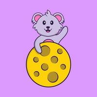 Cute koala is on the moon. Animal cartoon concept isolated. Can used for t-shirt, greeting card, invitation card or mascot. Flat Cartoon Style vector