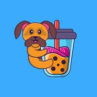 Cute dog Drinking Boba milk tea. Animal cartoon concept isolated. Can used for t-shirt, greeting card, invitation card or mascot. Flat Cartoon Style vector