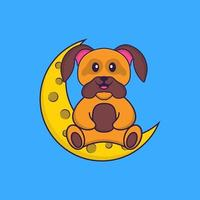 Cute dog is sitting on the moon. Animal cartoon concept isolated. Can used for t-shirt, greeting card, invitation card or mascot. Flat Cartoon Style vector