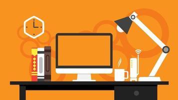 Computer desk. modern home office workplace for web template banner, presentation , background design. business concept flat style vector illustration.