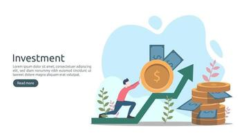 Business investment concept. dollar pile coin, tiny people, money object. graphic chart increase. Financial growth rising up to success. modern flat design landing page template vector illustration