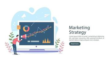 digital marketing strategy concept with tiny people character, table, graphic object on computer screen. online social media marketing modern flat design for landing page and mobile website template vector