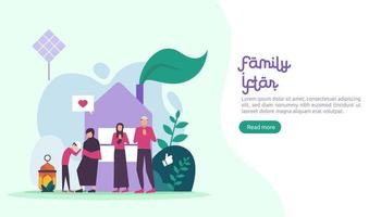 Iftar Eating After Fasting feast party concept. Moslem family dinner on Ramadan Kareem or celebrating Eid with people character. web landing page template, banner, presentation, social or print media vector