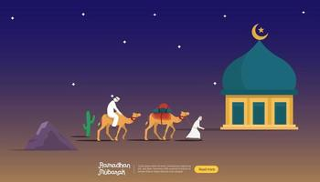 happy ramadan mubarak greeting concept with people character for web landing page template, banner, presentation, social, and print media. islamic eid fitr or adha flat design vector illustration.