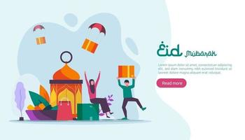 islamic design illustration concept for Happy eid mubarak or ramadan greeting with people character. template for web landing page, banner, presentation, social, poster, ad, promotion or print media. vector